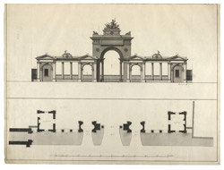 Section and plan of a Gateway to Hyde Park entering from Piccadilly